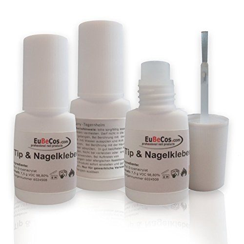 EuBeCos 3x Sekunden Tip Kleber 7,5g - Stehflasche mit Pinsel. UNSER BESTSELLER in Top Qualität- Transparent und EXTRA SCHONEND! -