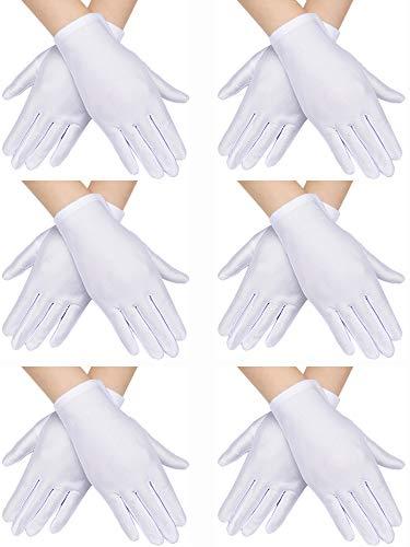 6 Paar Kinder Kostüm Handschuhe Spandex Handschuhe Anziehhandschuhe für Kinder Halloween Kostüm Zubehö (Weiß) (Halloween Paar Kostüm Kinder)