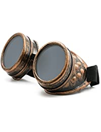 4sold (TM) Steampunk Black Cyber Goggles Rave Goth Vintage Victorian like Sunglasses (copper)