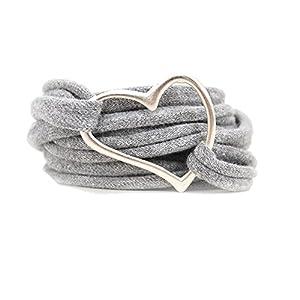 Armband Wickelarmband Stoff grau meliert oder in Wunschfarbe 60 Varianten mit Herz silber individuelle Geschenke mit Liebe