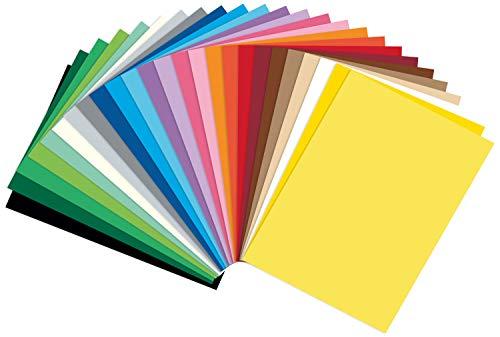 folia 614/250 09 - Fotokarton Mix DIN A4, 300 g/qm, 250 Blatt, sortiert in 25 verschiedenen Farben - zum Basteln und kreativen Gestalten von Karten, Fensterbildern und für Scrapbooking -