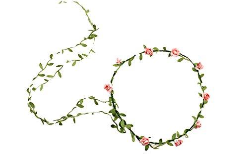 TININNA Frauen Blumen Kronen Stirnband Braut Blumenhaar Kranz Festival Hochzeits Girlande Fotografie Werkzeug Strand Zusätze (Rosa) EINWEG Verpackung