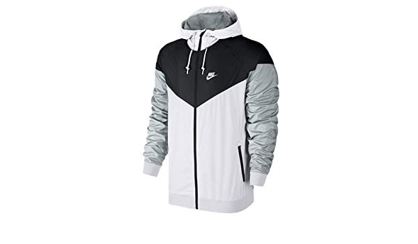 Nike Mens Windrunner Hooded Track Jacket White Black Wolf Grey 727324-101  Size Small  Amazon.in  Sports ac469cfef