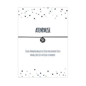Armband ATEMPAUSE mit Om Anhänger versilbert, elastischem Textilband in schwarz und liebevoller Karte:Zeit für Dich