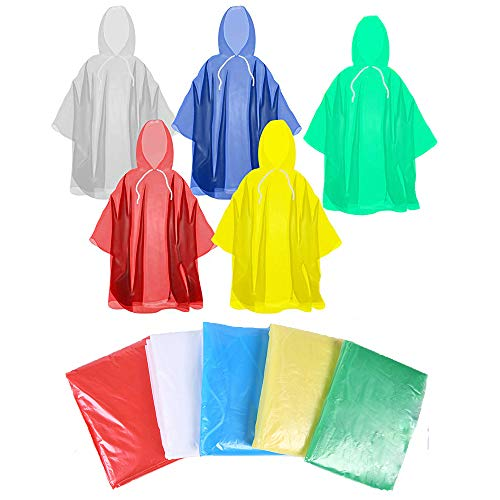 5 Pack Rain Ponchos Disposable Outdoor Rain Gear,Extra Thick Disposable Emergency Waterproof Rain Poncho with Drawstring Hood Raincoat for Men, Women, Teens (#1)