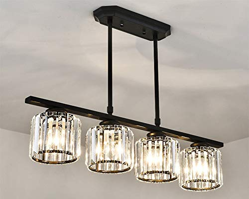 Vier Helle Foyer Lampe (Modern Luxus Kristalllampe Pendelleuchte Kronleuchter Höhenverstellbar Esstischlampe Hängeleuchte Runde Kristall Anhänger Dekorative Decke Pendellampe Wohnzimmer Esszimmer Beleuchtung, 4-flammig)