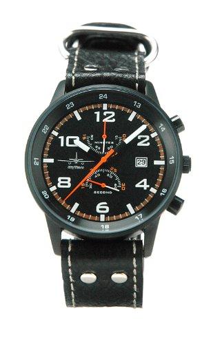 SkyTimer Pilotenuhr 507555422 - Lederband, Gehäuse schwarz, Miyota OS11, 5 ATM