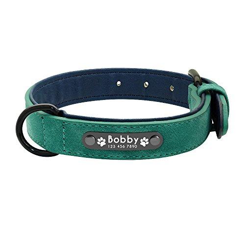 XIAOLANGTIAN Dog Collars Personalized Custom Leather Dog Collar Name Id Tags for Small Medium Large Dogs Pitbull Bulldog Beagle,Green,M