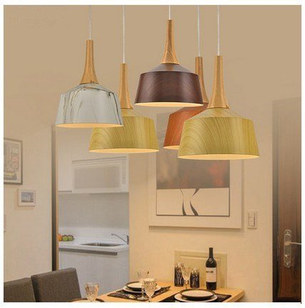 OLQMY-Lustre en bois imitation aluminium moderne , single head teak color