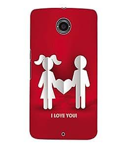 Fuson 3D Printed Valentine I Love You Couple Designer Back Case Cover for Motorola Google Nexus 6 - D592