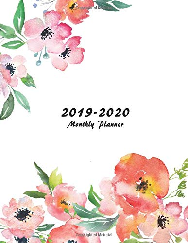 2019-2020 Monthly Planner: Large Two Year Planner with Flower Coloring Pages (Floral Cover Volume 5) por Miracle Planners
