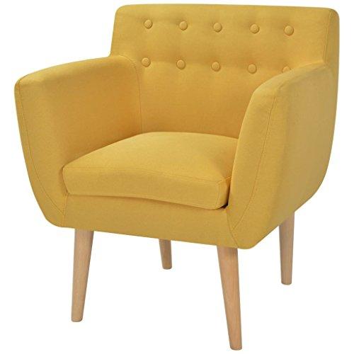 Zora Walter Holzrahmen Armsessel Stoff 67 x 59 x 77 cm Gelb Fernsehsessel Loungesessel Sofa Couch -...