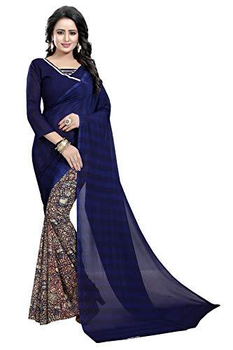 CRAFTSTRIBE Le Donne di Nozze Georgette Saree Festa Indiana Bollywood Nuziale Sari Vestito da Usura