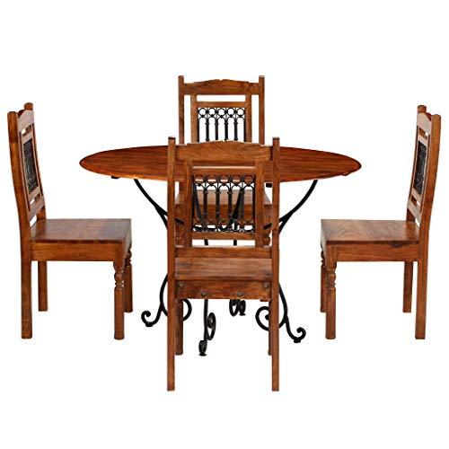 Tidyard- Garten-Tischgruppe Essgruppe 5tlg. aus Akazienholz Massiv mit Sheesham-Finish, bestehend aus 1 Tisch und 4 Stühle -