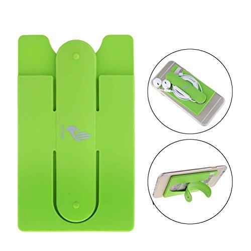 LXCAN 2in1Silikon Selbstklebend PU Aufklebbarer Wallet Kreditkarte ID Halter für Alle Smart Phone iPhone, Grün Silicon Case Ipod Video