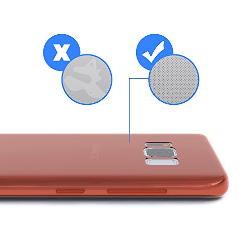 """EAZY CASE Handyhülle für Samsung Galaxy S8 Hülle - Premium Handy Schutzhülle Slimcover """"Brushed"""" Aluminium Design - TPU Silikon Backcover in brushed Rot Orange - Clear"""