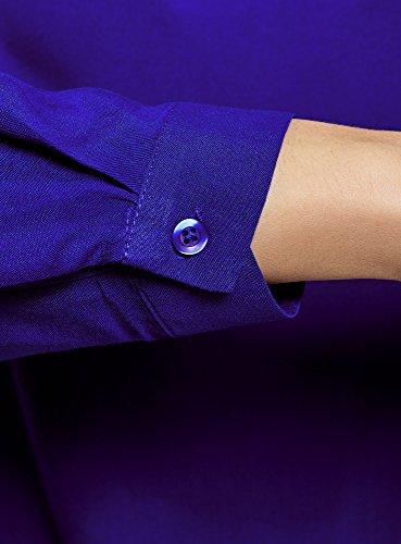 oodji Ultra Damen Viskose-Bluse Basic Blau (7500N)