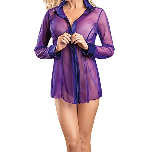 Dream-Garden-Women-Lace-Transpent-Long-Sleeve-Lapel-T-Shirt-Pyjamas-Sleepshirt