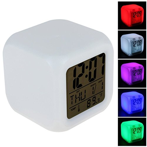 EASELIFE Premium Quality Auto 7 Colour LED Changing Digital Alarm Clock Glowing LED Screen Display Time,Data,Week,Temperature and Alarm Cube Battery Operated Led Travel Clocks Calendar Clock  available at amazon for Rs.399