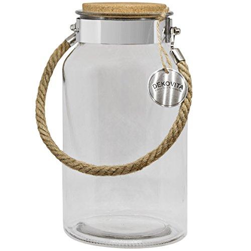 Dekovita Vorratsglas 5l H:30/D:16/Ö:10,6cm Korkdeckel Kordel Edelstahl Gartenlaterne Glasbehälter Dekoglas Windlicht