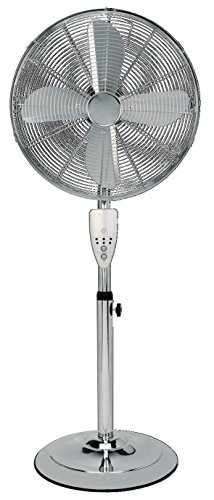 Aironic ® 16inch Pedestal Floor Fan, 3 Settings, Tilt , Chrome Finish, 4 Aluminium Blade Design, 50W Copper Motor, 7 Hour Timer Remote Control