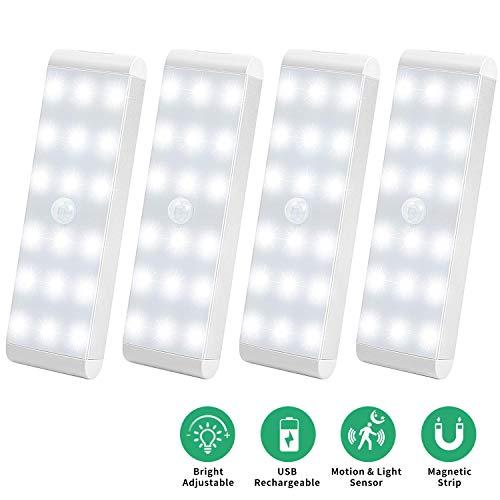 LED Sensor Licht 18 LEDs,Wiederaufladbar Schranklicht mit Bewegungsmelder,Intelligente LED Küchenleuchte,Weiches Licht für Küche,Kleiderschrank,Kofferraum,Treppe,Verschiedene Räume,RV(4 Stück)