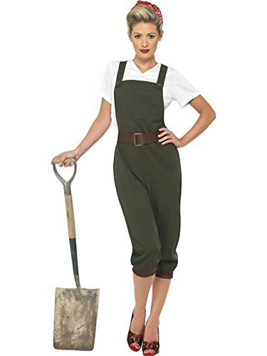 Damen WW2 Land Mädchen Kostüm Größe XL 20 Bis (Damen Land Mädchen Kostüm)