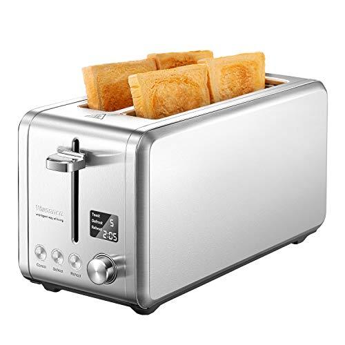 Toaster 4 Scheiben Toaster Edelstahl mit LCD-Display Countdown Anzeige, 1500W Toaster mit 9 Bräunungsstufen und 6 Voreingestellten Programmen, Extra Breite Steckplätze, Willsence