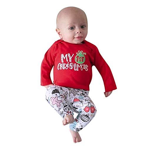 LEXUPE Baby Kleidung Set Mädchen Weihnachtsoutfit Baby Kleid Tütü Bodys Strampler Stirnband Beinwärmer Schuhe(Rot,70) -