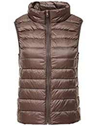 MQMY otoño invierno transpirable antimicrobiano chaquetas de down chaleco ligero la recta cuello breve párrafo abrigo cremallera mantener caliente mujer