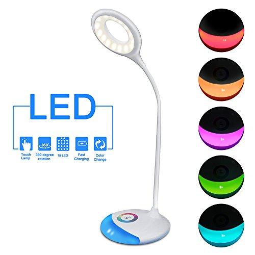 LED Schreibtischlampe, Melojoy Farbe einstellbar Basis Leselampe, Touch-Funktion Dimmbar Tischleuchte, Augenschutz Lampenarm Einstellbar