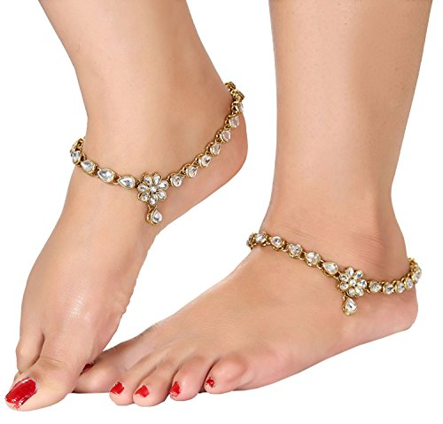 Shining Diva Gold Plated Traditional Jewellery Kundan Payal Anklets For Girls & Women