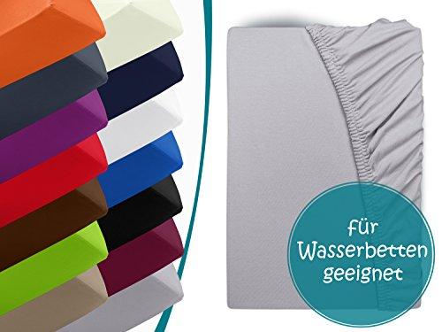 1 Stück Bettbezug (Premium Wasserbett-Spannbetttuch - aus sanforisiertem Baumwoll-Jersey mit 5% Lycra-Anteil - Komfortgröße 180 x 200 cm bis 200 x 220 cm - in 12 attraktiven Farben - auch für Boxspringbetten, silber)