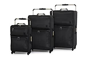 IT Luggage World's Lightest Set of 3 Four Wheel Spinner Suitcases Black