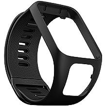 TomTom Wechselarmband für TomTom Spark 3 / Spark / Runner 3 / Runner 2 GPS-Uhren, Schwarz, Größe S