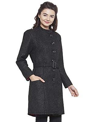 Martini Women Black Lurex Belted Woolen Long Coat
