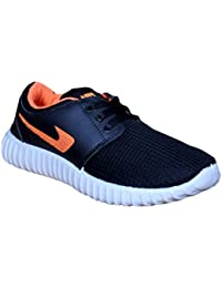 Allez Kros Men's Mesh Casual Cum Sports Stylish Black & Orange Shoes