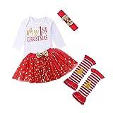 Baby Mädchen My 1st Christmas Strampler + Punkt Tutu Rock + Beinwärmer + Stirnband Set 4 Stück Weihnachten Bekleidung (6-12 Monate)