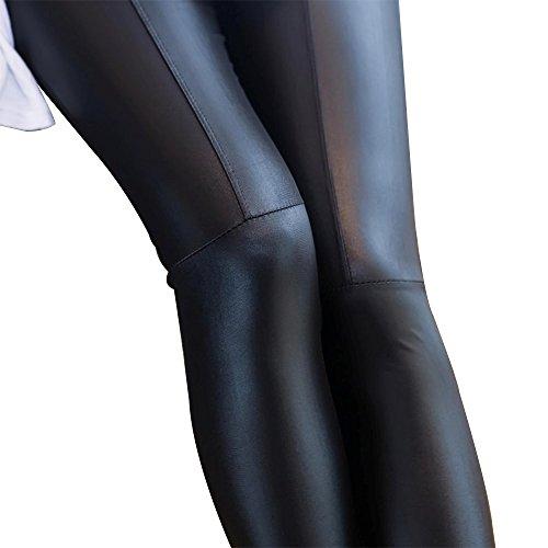BOZEVON Donna pelle Skinny Elastico Sottili Pantaloni Matita Casuali Leggings Moda Eleganti Pantaloni Stretti Nero