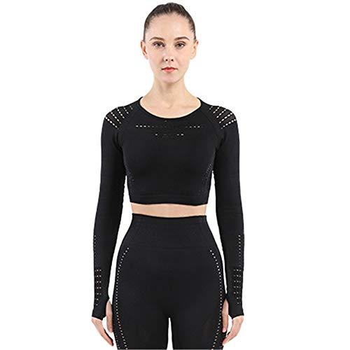 SotRong Damen-Shirt, modisch, mit Lochmuster, für Workout, Fitness-Studio, langärmliges Yoga-T-Shirt, sportliches Outfit Gr. Asiatisch Medium, Schwarz
