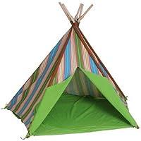 HAB & GUT (ZK00V) TEEPEE - hochwertiges Stoffzelt für Kinder, Blumenmuster, gestreift, bunt, Höhe 135 cm, 183 cm - Holzstangen, Baumwolle, Indoor