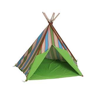 HAB & GUT ( ZK002 ) Tente de jeu RAYURES en cotton, tipi, couleur : marron/vert/bleu, hauteur 135cm Ø 180 cm (variable), pour l'intérieur