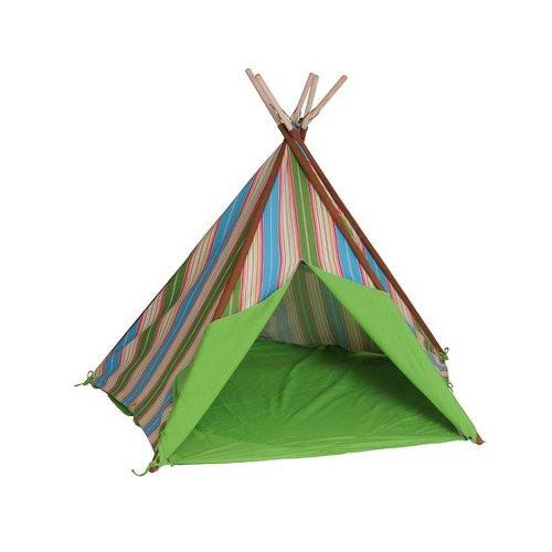 HAB & GUT -ZK002- Teepee - hochwertiges Stoffzelt für Kinder, Streifenmuster grün/braun/blau, Höhe 135 cm, Ø 180 cm - Holzstangen, Baumwolle, Indoor