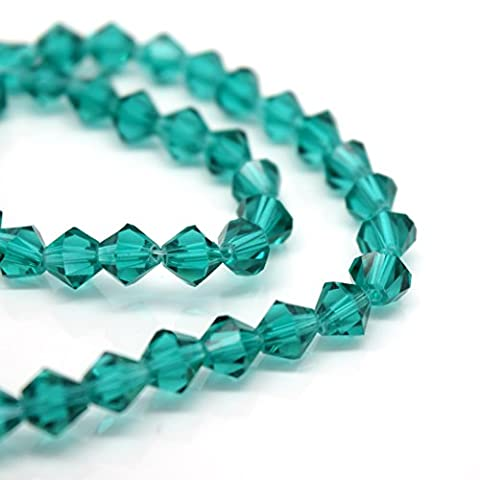 FACETED BICONE CRYSTAL GLASS BEADS PICK COLOUR & SIZE - BY STAR BEADS (Emerald, 4mm (115pcs))
