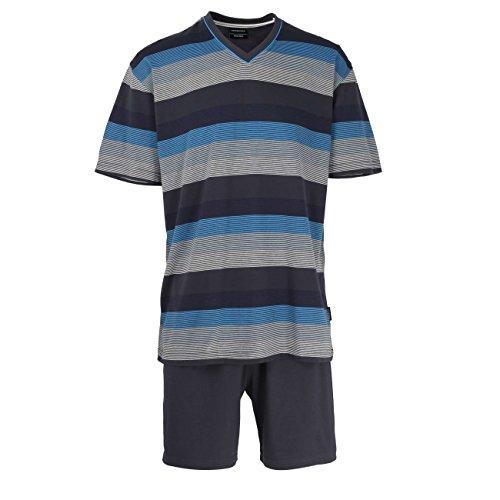 Götzburg Herren Zweiteiliger Schlafanzug Shorty, V-Ausschn. grey-dark-horiz stripe