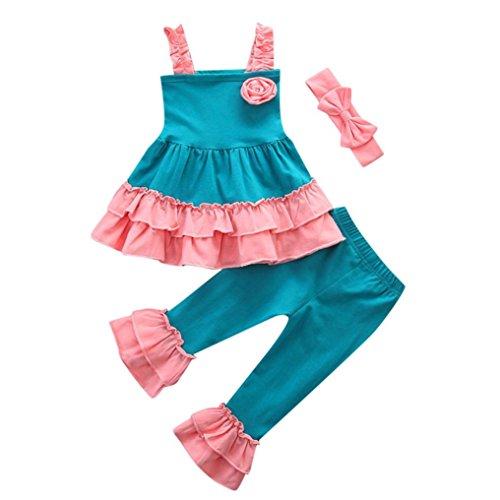ode Frühling Sommer Mädchen﹛12M-4T﹜Kinder Ärmellose﹛Blumen Halfter﹜Top + Rüschen Hosen + Bogen Haarband Trio Set Party Top Outfits Kleider (Rosa, 4T=120) (Tolle Kostüme Trio)