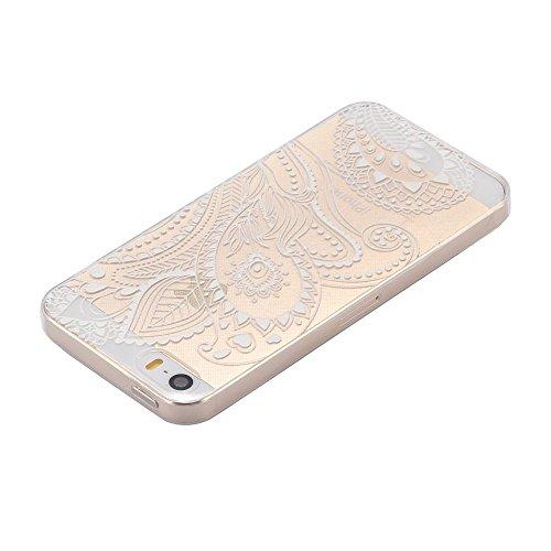 ECENCE APPLE IPHONE SE / 5 5S SILIKON TPU CASE SCHUTZ HüLLE HANDY TASCHE COVER SCHALE DURCHSICHTIG 12010404 Transparent Blatt