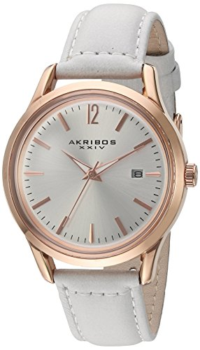 Akribos XXIV Women's Classic Rose Gold-Tone and White Leather Watch AK921WT
