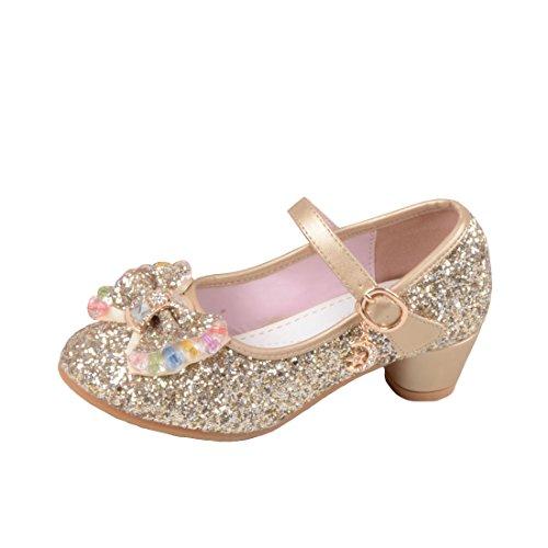 O&N Prinzessin Gelee Partei Absatz-Schuhe Sandalette Stöckelschuhe für Kinder(Size 31 EU) Golden