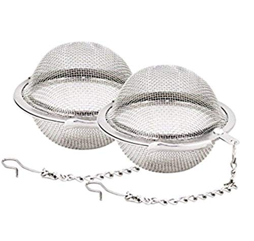 favor best Stainless Steel Tea Strainer, 2 Pcs Silver Ball Shape Loose Tea Mesh Tea Infuser Herbs Spice Tea Filter Interval Diffuser by SamGreatWorld